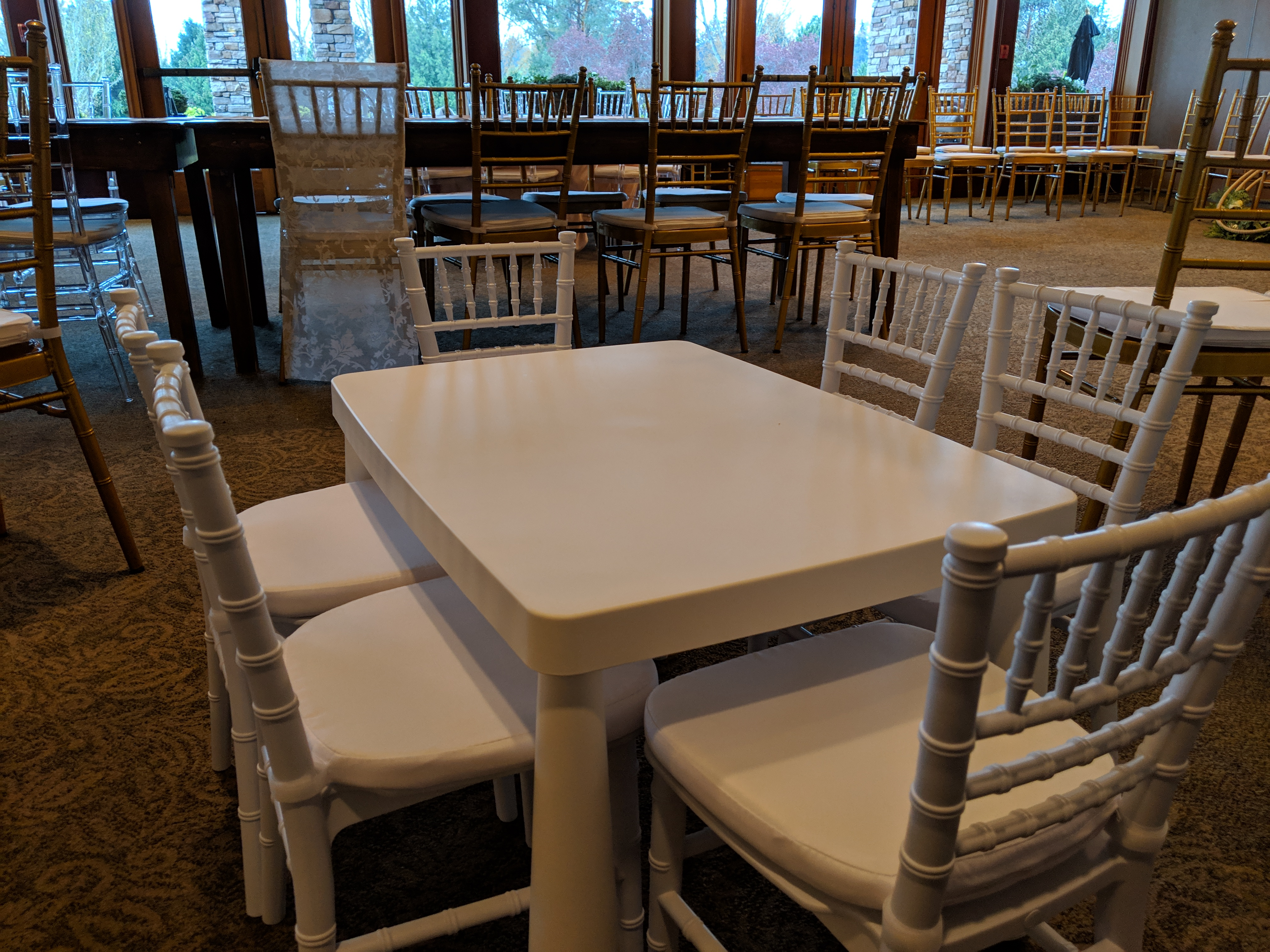 White children's chiavari chairs @ Beach Grove Golf